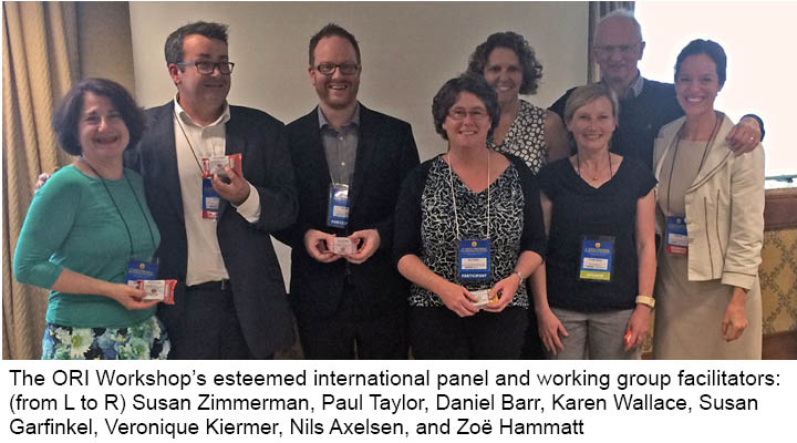 The ORI Workshop's esteemed international panel and working group facilitators: (from L to R) Susan Zimmerman, Paul Taylor, Daniel Barr, Karen Wallace, Susan Garfinkel, Veronique Kiermer, Nils Axelsen, and Zoë Hammatt