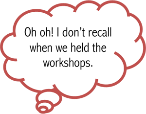 Cloud Callout: Oh oh! I don't recall when we held the workshops.